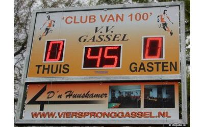 voetbalscorebord scorebord vv Gassel scoretec