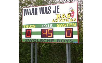 voetbalscorebord scorebord Zwolsche Boys Zwolle scoretec