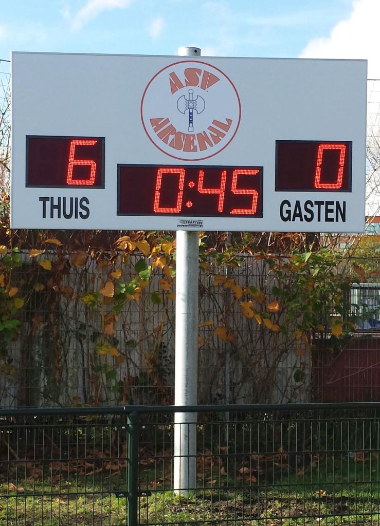 voetbal scorebord asv arsenal amsterdam scoretec